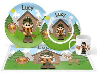 Hunting Girl Plate Set - Personalized Kids Plate, Bowl, Mug & Placemat - Hunting Plate Set - Kids Plastic Tableware - Microwave Safe