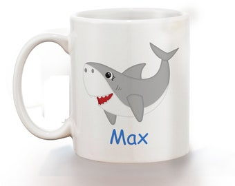 Shark Personalized Kids Mug, Personalized Polymer Mug, Personalized Ceramic Mug, Custom Personalized Kids Mug
