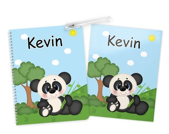 Panda Folder Notebook Set - Personalized School Folder - Personalized Notebook - Folder with Name - Back to School