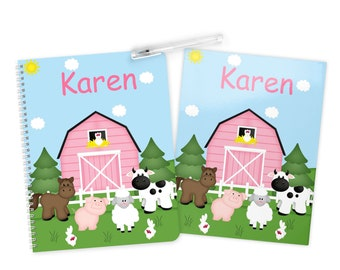 Barn Yard Pink - Farm Animals Folder Notebook Set - Personalized School Folder - Personalized Notebook - Folder with Name - Back to School