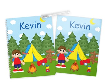 Camping Boy Folder Notebook Set - Personalized School Folder - Personalized Notebook - Folder with Name - Back to School