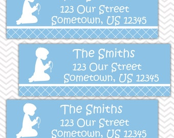 Kneeling Boy Blue Baptism Christening First Holy Communion  - Personalized Address labels, Stickers