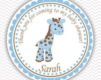 Baby Giraffe Blue - Personalized Stickers, Party Favor Tags, Thank You Tags, Gift Tags, Address labels, Baby Shower