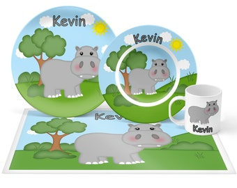 Hippo Plate Set - Personalized Kids Plate, Bowl, Mug & Placemat - Hippo Plate Set - Kids Plastic Tableware - Microwave Safe