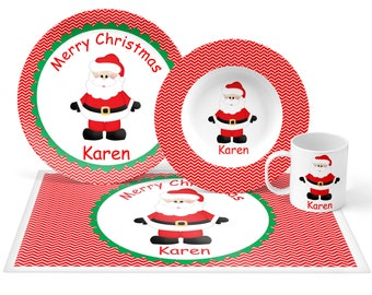 Christmas Santa Plate Set - Personalized Kids Plate, Bowl, Mug & Placemat - Santa Plate Set - Kids Plastic Tableware - Microwave Safe