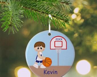 Basketball Boy Ornament - Personalized Basketball Ornament, Sports Ornament, Kids Ornament, Christmas Tree Ornament