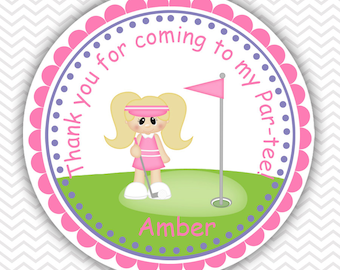 Golf Girl - Personalized Stickers, Party Favor Tags, Thank You Tags, Gift Tags, Address labels, Birthday, Baby Shower