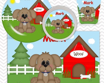 Dog House Red Plate, Bowl, Cup, Placemat - Personalized Dog Dinnerware for Kids - Custom Tableware