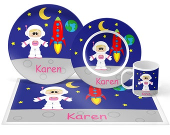 Astronaut Girl Plate Set - Personalized Kids Plate, Bowl, Mug & Placemat - Space Plate Set - Kids Plastic Tableware - Microwave Safe
