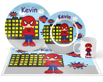 Spiderman Plate Set - Personalized Kids Plate, Bowl, Mug & Placemat - Super Hero Plate Set - Kids Plastic Tableware - Microwave Safe