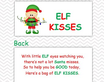Christmas Elf Kisses Girl - Personalized DIY Christmas Printable Bag Topper, Treat Topper, Food Tent