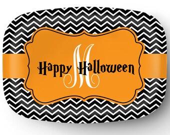 Personalized Platter - Custom Tray with Monogram - Personalized Halloween Monogram Serving Platter - Custom Melamine Platter