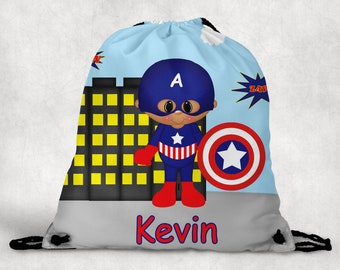 Captain America Personalized Drawstring Backpack - Captain America Backpack - Hockey Sports Bag - Personalized Kids Drawstring Bag