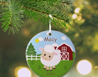 Sheep Ornament - Personalized Sheep Ornament, Sheep Ornament, Kids Ornament, Christmas Tree Ornament