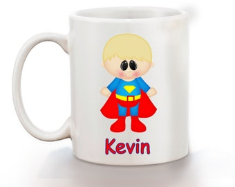 Superman Superhero Personalized Kids Mug, Personalized Polymer Mug, Personalized Ceramic Mug, Custom Personalized Kids Mug