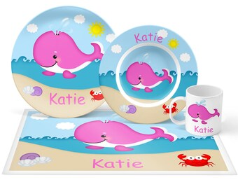 Whale Pink Plate Set - Personalized Kids Plate, Bowl, Mug & Placemat - Whale Plate Set - Kids Plastic Tableware - Microwave Safe