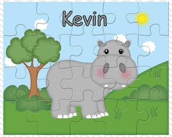 Hippo Personalized Puzzle, Personalized Hippo Puzzle, Personalized Kids Puzzle