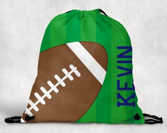 Personalized Drawstring Backpack - Football Backpack - Football Sports Bag - Personalized Kids Drawstring Bag