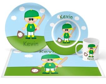 Baseball Plate Set - Personalized Kids Plate, Bowl, Mug & Placemat - Baseball Sports Plate Set - Kids Plastic Tableware - Microwave Safe