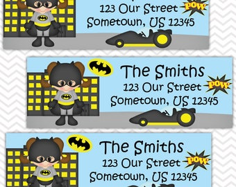 Batgirl - Superhero - Personalized Address labels, Stickers, Baby Shower, Birthday