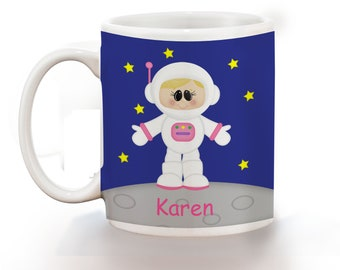Astronaut Girl Personalized Kids Mug, Personalized Polymer Mug, Personalized Ceramic Mug, Custom Personalized Kids Mug