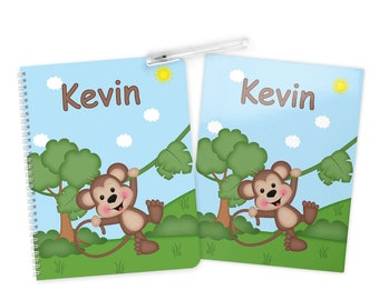 Monkey Folder Notebook Set - Personalized School Folder - Personalized Notebook - Folder with Name - Back to School