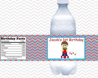 Bowling Boy - Personalized water bottle labels - Set of 5  Waterproof labels