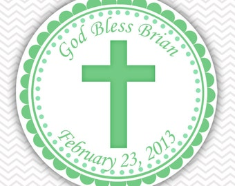 Cross Green Baptism Christening First Holy Communion - Personalized Stickers, Party Favor Tags, Thank You Tags, Gift Tags