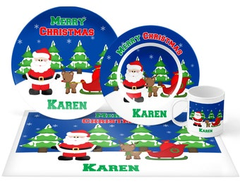 Christmas Santa Sleigh Plate Set - Personalized Kids Plate, Bowl, Mug & Placemat - Santa Plate Set - Kids Plastic Tableware - Microwave Safe