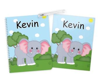 Elephant Folder Notebook Set - Personalized School Folder - Personalized Notebook - Folder with Name - Back to School