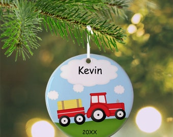 Tractor Red Ornament - Personalized Tractor Ornament, Tractor Ornament, Kids Ornament, Christmas Tree Ornament