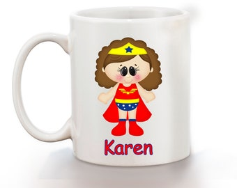 Wonder Women Superhero Personalized Kids Mug, Personalized Polymer Mug, Personalized Ceramic Mug, Custom Personalized Kids Mug