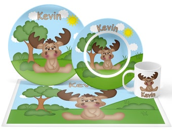 Moose Plate Set - Personalized Kids Plate, Bowl, Mug & Placemat - Moose Plate Set - Kids Plastic Tableware - Microwave Safe