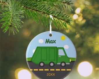 Garbage Truck Ornament - Personalized Garbage Truck Ornament, Garbage Truck Ornament, Kids Ornament, Christmas Tree Ornament