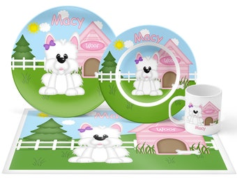 Dog House Pink Plate Set - Personalized Kids Plate, Bowl, Mug & Placemat - Dog Plate Set - Kids Plastic Tableware - Microwave Safe