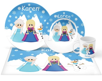 Princess Frozen Plate Set - Personalized Kids Plate, Bowl, Mug & Placemat - Princess Plate Set - Kids Plastic Tableware - Microwave Safe