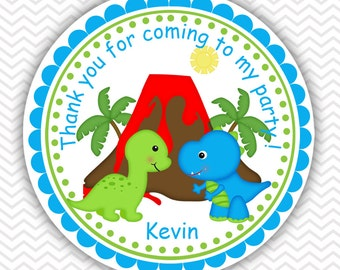 Dinosaur - Personalized Stickers, Party Favor Tags, Thank You Tags, Gift Tags, Address labels, Birthday, Baby Shower