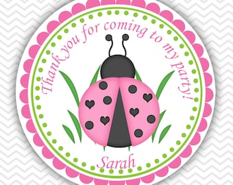Ladybug Pink and Green - Personalized Stickers, Party Favor Tags, Thank You Tags, Gift Tags, Address labels, Birthday, Baby Shower