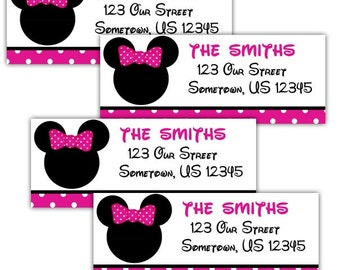 Minnie Mouse Head - Personalized Address labels, Stickers