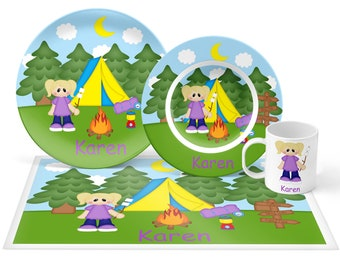 Camping Girl Plate Set - Personalized Kids Plate, Bowl, Mug & Placemat - Camping Plate Set - Kids Plastic Tableware - Microwave Safe