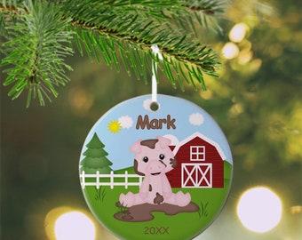 Pig Ornament - Personalized Pig Ornament, Pig Ornament, Kids Ornament, Christmas Tree Ornament