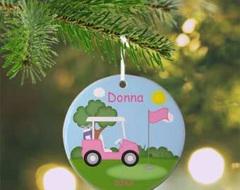 Golf Cart Pink Ornament - Personalized Golf Ornament, Golf Ornament, Kids Ornament, Christmas Tree Ornament