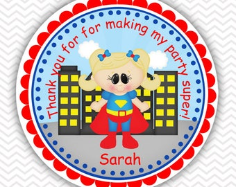 SuperGirl Super heros - Personalized Stickers, Party Favor Tags, Thank You Tags, Gift Tags, Address labels, Birthday, Baby Shower