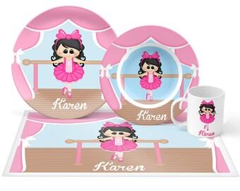 Bellerina Plate Set - Personalized Kids Plate, Bowl, Mug & Placemat - Ballerina Dance Plate Set - Kids Plastic Tableware - Microwave Safe