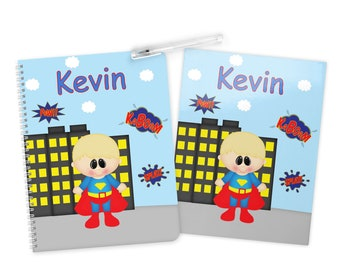 Superman Super Hero Folder Notebook Set - Personalized School Folder - Personalized Notebook - Folder with Name - Back to School