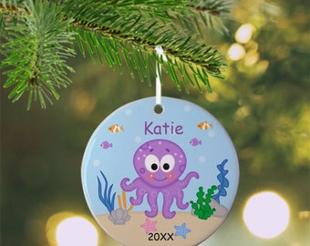 Octopus Ornament - Personalized Octopus Ornament, Octopus Ornament, Kids Ornament, Christmas Tree Ornament
