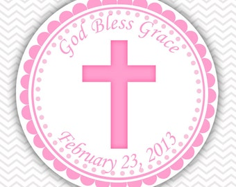 Cross Pink Baptism Christening First Holy Communion - Personalized Stickers, Party Favor Tags, Thank You Tags, Gift Tags