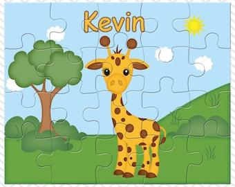 Giraffe Personalized Puzzle, Personalized Giraffe Puzzle, Personalized Kids Puzzle
