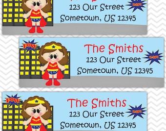 Wonder Women - Superhero - Personalized Address labels, Stickers, Baby Shower, Birthday