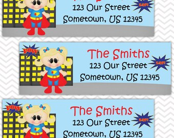 Supergirl - Superhero - Personalized Address labels, Stickers, Baby Shower, Birthday